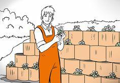 Heimwerker mit Pflanze in der Hand vor Pflanzsteinen an Böschung.