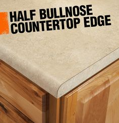 A half bullnose or demi-bullnose countertop edge has a rounded corner on the top edge and a straight corner on the bottom edge.
