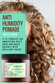 Seals Moisture In and Locks Out Humidity. This Anti-Humidity Pomade for frizz seals the cuticle with a light weight protective nutritive barrier to keep humidity out. A humid environment can make hair Curly Hair Styles, Natural Hair Styles, Foeniculum Vulgare, Hair Frizz, Pelo Afro, How To Make Hair, Shiny Hair, Hair Dos, Hair Hacks