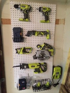 Ryobi pegboard power tool shrine