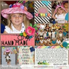 Crazy Hat Day Digital Pocket Scrapbook page by Juli Fish iCraft kit, cards and scatters by Studio Flergs, 365 Unscripted Stitched Grids by Traci Reed, both from www.sweetshoppedesigns.com pocket scrapbook, project life, journal cards, flowers, journaling, stripes, Kindergarten, hat, crafts, grids, multiple photos