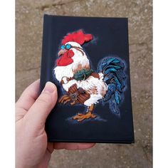 Journal notebook sketchbook book cover art cockerel rooster hand made... (345 PLN) via Polyvore featuring men's fashion and men's grooming