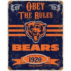 Amazon.com - NFL Football Chicago Bears Logo Vintage Metal Sign - Obey the Rules Decor