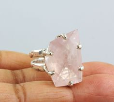 ROSE QUARTZ NATURAL GEMSTONE RINGS SOLID SILVER 925 STERLING JEWELRY 13 GM US 8 #Unbranded