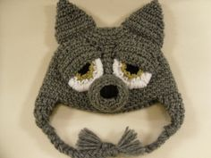 Items similar to Crocheted Wolf Hat on Etsy Crochet Kids Hats, Crochet Baby, Crocheted Hats, Crochet Wolf, Knit Crochet, Big Bad Wolf Costume, Wolf Hat, Fox Dog, Baby Hats