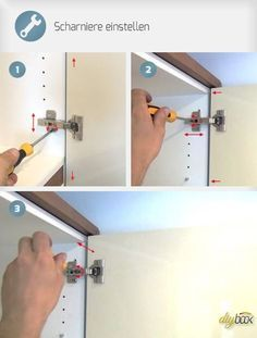 Adjust hinges - Tips & Tricks @ diybook.at-Scharniere einstellen – Tipps & Tricks @ diybook.at Adjusting the hinges is easier than it seems. With a few turns, cabinet doors can lie flat and straight and close perfectly. Woodworking Jigs, Woodworking Furniture, Woodworking Projects, Cabinet Doors, Cheap Home Decor, Planer, Wood Projects, How To Plan, Storage