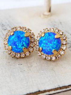 Blue green mint Opal stud earrings   Blue opal earrings   http://etsy.me/1QPuezc
