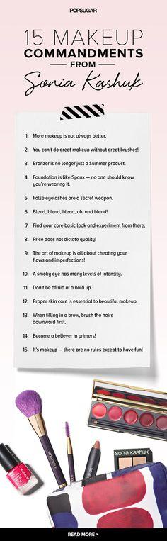 15 makeup commandments from beauty guru Sonia Kashuk @soniakashukinc