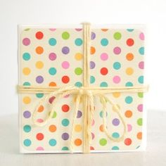 Boomerang BTQ - Indianapolis, IN | Square Market color polka dots pink blue green orange crystals coasters set of 4 drink coaster Fashion Trendy Online Boutique Style