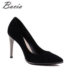 98997ef7e9c47 US $106.87 |Aliexpress.com : Buy Bacia Genuine Leather shoes Summer Black  High Heels Women Classic 9.8cm Thin Heel Pointed Toe Pumps Fashion Party  Shoes ...