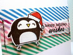 Christmas Penguin washi tape card - Close Up by *茵~, via Flickr