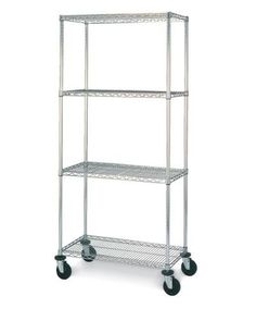 """Olympic 18"""" Deep 4 Shelf Mobile Carts - Chrome - 18"""" x 36"""" x 59"""" by Olympic. $252.16. Olympic wire shelving made of carbon-steel will exceed all your storage needs. Open construction allows use of maximum storage space of cube. Each unit includes 4 posts, 4 shelves, 4 swivel stem rubber casters - 2 with brakes and 2 without - 4 donut bumpers and split-sleeves to attach shelves to posts. Chrome finishes are perfect for retail applications. Product Features: Open w..."""