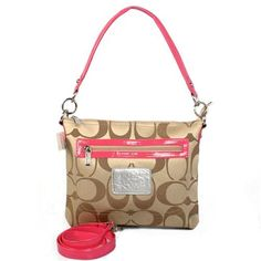 Look Here! Coach Zip In Logo Small Khaki Shoulder Bags CFY Outlet Online
