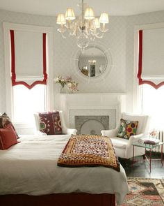 Tips & Tricks on Choosing a Minimalist Curtains. Tips & Tricks on Choosing a Minimalist Curtains. Order or buy curtains should not be haphazard. In addition to choosing an experienced curtain-mak. Home Bedroom, Bedroom Decor, Bedroom Red, Master Bedroom, Red Bedrooms, Pretty Bedroom, Custom Window Treatments, Curtains With Blinds, Roman Blinds