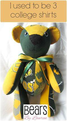 Keepsake Memory Bear made from college t-shirts. Great graduation gift!  #bearsbylauren