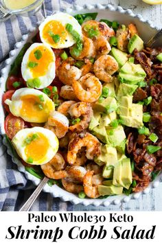 Perfectly seasoned grilled shrimp with crispy bacon, tomatoes, avocado and soft boiled eggs makes the best healthy, BBQ ready Cobb salad for summer! It's tossed in an easy lemon garlic vinaigrette with your favorite salad greens for a flavor-pa Healthy Chinese Recipes, Best Paleo Recipes, Whole 30 Recipes, Lunch Recipes, Lunch Meals, Muesli, Tofu, Brunch, Cobb Salad