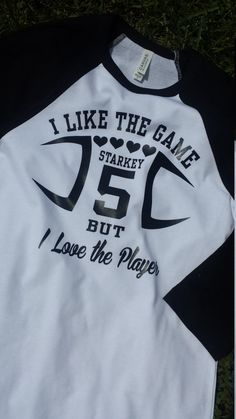 Football Girlfriend Length Tee with Custom Name and Number by GraphicsUnlimitedLLC on Etsy Boyfriend Football Shirts, Boyfriend Shirt, Boyfriend Ideas, Boyfriend Goals, Slimming World, Basketball Mom, Basketball Shirts, Volleyball, Cheerleading