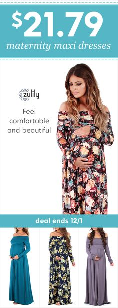 Sign up to shop maternity off-shoulder maxi dresses for $21.79. It can be hard to find maternity clothes that make you feel comfortable and beautiful. When sweatpants just won't do, opt for these gorgeous maternity maxi dresses in floral and solid colors that kiss the ground you walk on. Dress it up with sparkling accessories for a maternity photoshoot outfit, or throw on a jean jacket for a laid-back, feminine look. Deal ends 12/1.