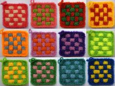 Scrubber & Scrubber Yarn: Square-Grid Dish Scrubbies Washing Clothes, Crochet, Grid, Etsy Seller, Dishes, Create, Crochet Hot Pads, Crochet Hooks, Plate