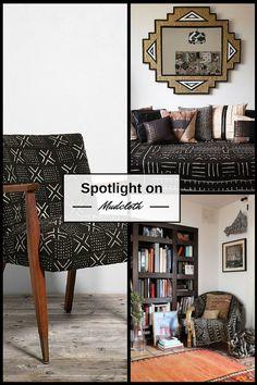 Spotlight on Mudcloth (Bogalan) in Interiors. Handmade textiles from Mali.