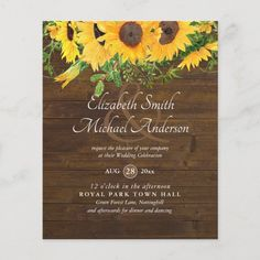 Rustic Sunflower Themed Wedding Stationery Budget Budget Wedding Invitations, Rustic Bridal Shower Invitations, Sunflower Wedding Invitations, Rehearsal Dinner Invitations, Engagement Party Invitations, Wedding Invitation Cards, Wedding Stationery, Wedding Cards, Wedding Rsvp