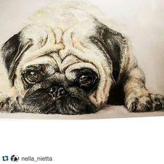 Cute pug by @nella_nietta ! from the #inspiringpieces Talent Pool #pug #pugsofinstagram #pugs #art #drawing #inspiration #animal #cute
