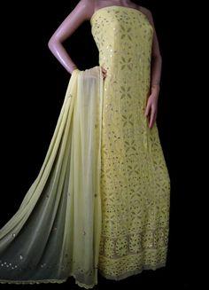 ISHIEQA's Pure Georgette Yellow Chikankari-Gotta Dress Material-DC1602C White C, Black B, Anarkali Dress, Green Cotton, Salwar Suits, Cotton Dresses, Pink Grey, Kurti, Designers