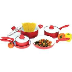 Heuck 8-Piece NANO Non-Stick Ceramic Cookware Set, Red ** Check out the image by visiting the link.
