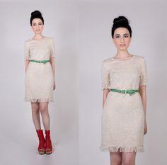 Vintage Tan Knit Fringe Dress