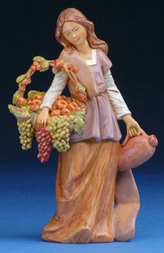 Fontanini Bethany Woman with Grapes Italian Nativity Village Figurine 57526 New 5 Inch Collection piece Hand-painted polymer Made in Italy