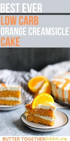 This Low Carb Orange Creamsicle Cake is as refreshing and flavorful as your favorite frozen treat! This cake will become your new favorite keto summer treat. Creamsicles are a summer tradition. I have fond memories of chasing down the ice cream truck in the summers so I could buy an orange creamsicle. #keto #ketodesserts #ketorecipes #lowcarb #lowcarbrecipes
