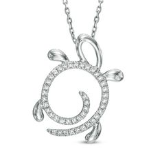 "1/10 CT. T.W. Diamond Turtle Pendant in 10K White Gold - 17"" - View All Necklaces - Zales"