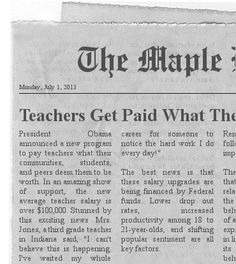 FREE Newspaper Clipping Generator~ Type in a fun, fake name for your newspaper, add the date, and enter your own article details.  In about three minutes you'll have a clipping that looks something like this one.  Fun, free, and a great way to teach expository writing!