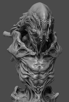 (×× ) Alien Concept Art, Creature Concept Art, Creature Design, Zbrush, Arte Alien, Alien Art, Arte Horror, Horror Art, Alien Creatures