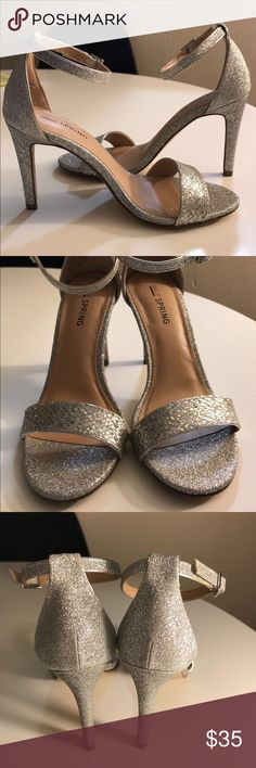 Call It Spring Silver Ankle Strap Sandals - Size 6 Like new condition; worn once. Perfect for special occasions, holidays parties or to jazz up any outfit! Call It Spring Shoes Heels