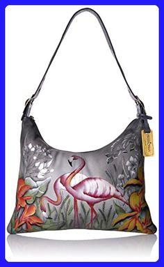 Anuschka Handpainted Leather Slim Large Hobo, Flamboyant Flmingos - Hobo bags (*Amazon Partner-Link)