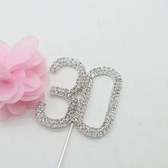 30 Thirty Number Crystal Rhinestone /30th Anniversary Cake Topper (FAUX Diamond Diamante)