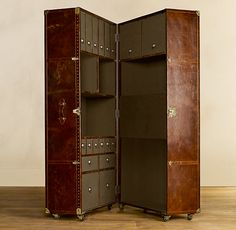 Mayfair Steamer Secretary Trunk Vintage Cigar Leather  Great home office for moving/ craft station/ wardrobe/ etc etc