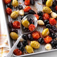 Herb-Roasted Olives & Tomatoes Recipe -Eat these roasted veggies with a crunchy baguette or a couple of cheeses. You can also double, or triple, the amounts and have leftovers to toss with spaghetti the next day. —Anndrea Bailey, Huntington Beach, California