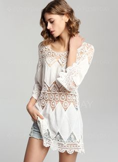 Dresses+-+$40.99+-+Cotton+Solid+3/4+Sleeves+Above+Knee+Vintage+Dresses+(1955118515)