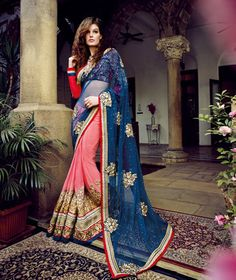 USD 106.73 Blue Net Half and Half Party Wear Saree 55713