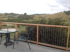 Macrocarpa and stainless steel deck railing