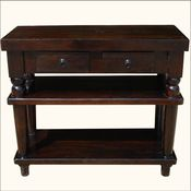 >Solid Wood 2 Storage Drawers Entry Console Hall Table NEW