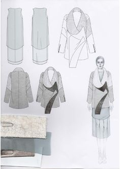 Fashion Portfolio layout - fashion illustration & fabric swatches; fashion design; fashion sketchbook // Emily-Mei Cross