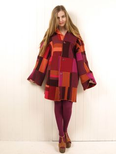 Kitsch Bitsch recycled reversible jumper coat; free pattern for making an upcycled felted sweater coat.