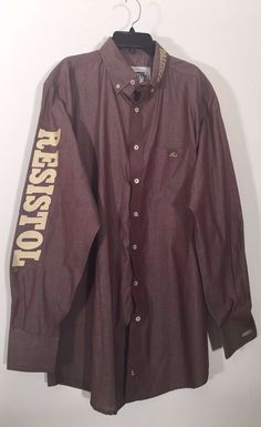 7124682e9c30 Mens Resistol Ranch Shirt Western Shirt Cowboy Embroidered Logo Shirt Rodeo  Gear Canton Style #ResistolRanch