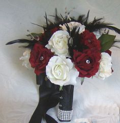 Wedding bouquet set dark red and white by ChurchMouseCreations, $188.00
