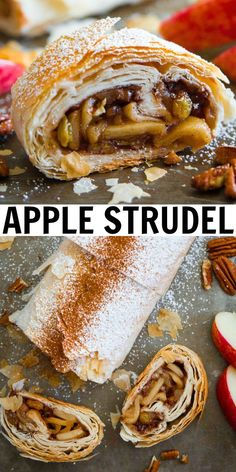 This classic Apple Strudel Recipe is the ideal easy dessert to impress guests. Thrown together in minutes, it turns out perfect every time! Baked Apple Dessert, Apple Dessert Recipes, Easy Desserts, Winter Desserts, Holiday Desserts, Fruit Recipes, Gourmet Recipes, Baking Recipes, Desserts For A Crowd