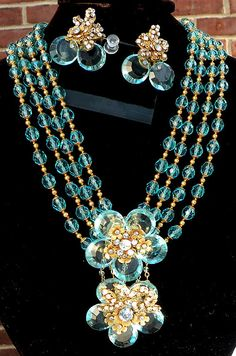 Huge MIRIAM HASKELL NECKLACE and Earring Set Book Piece