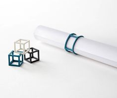 Cubic rubber bands! By Tokyo-based nendo / geometric, minimalist